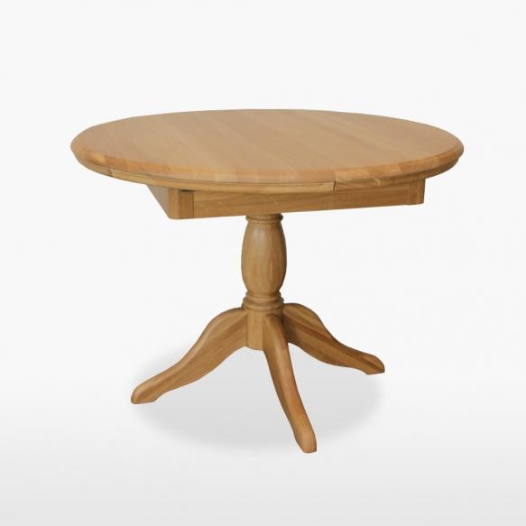 Round extending single pedestal table 106/145 cm