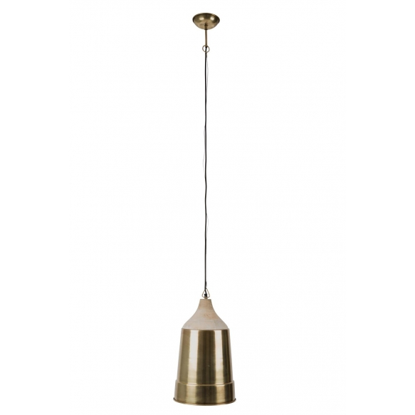 Pendant Lamp Wood Top Brass