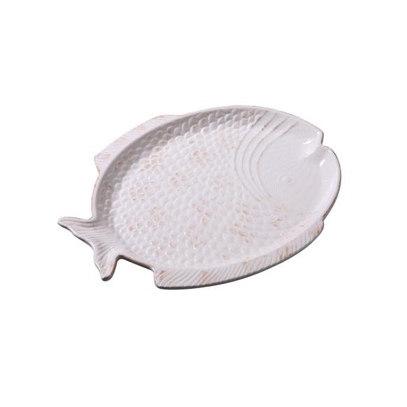 "12-1/4""L Dolomite Fish Platter, Cream"