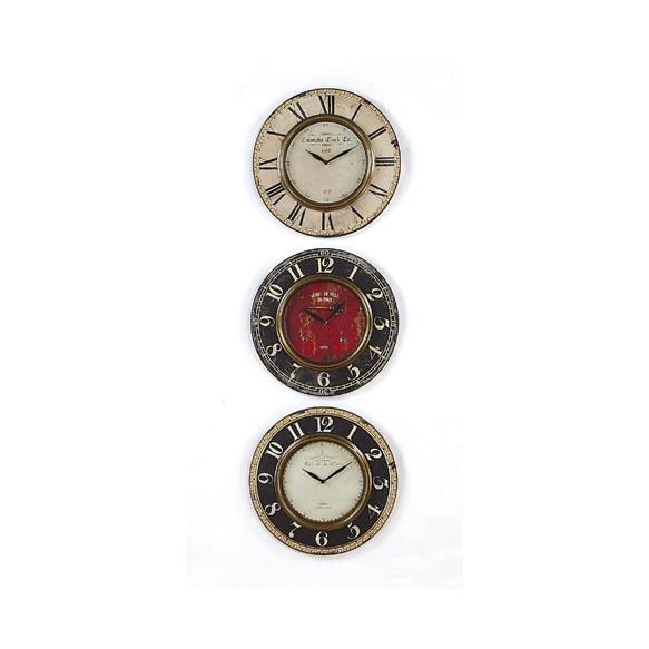 "15""Round Birch & MDF Wall Clock w/ Metal Rim, 3 Styles"