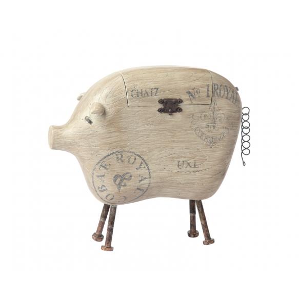 "13""L x 11""H Resin Pig Box w/ Metal Tail & Feet"