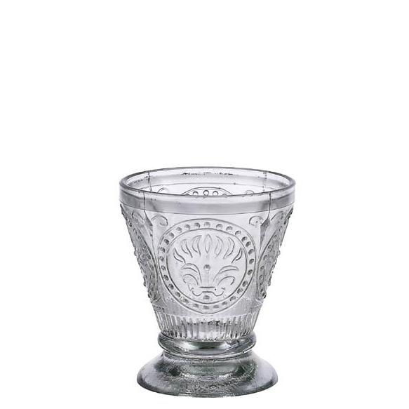 "4""H Embossed Glass Tumbler, Handmade in India"