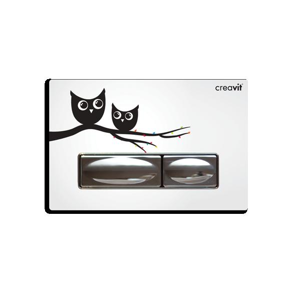 CREAVIT DESIGN seinasisese raami loputusnupp, öökull (METALL+KLAAS)