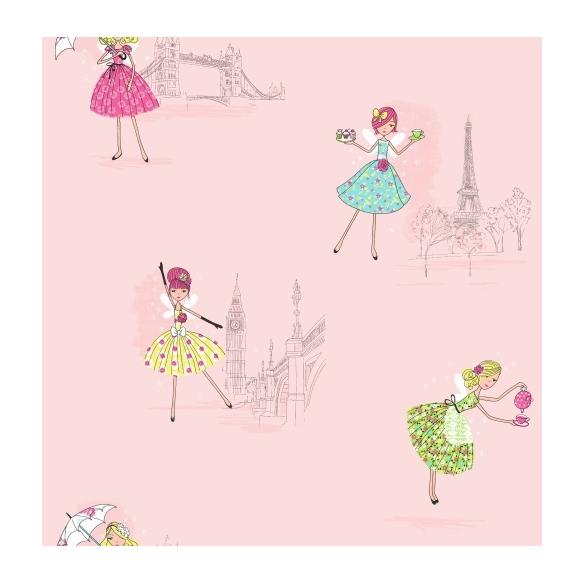 Hoopla Vintage Fairies SidewallPink