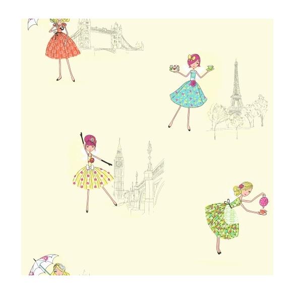 Hoopla Vintage Fairies SidewallBlue