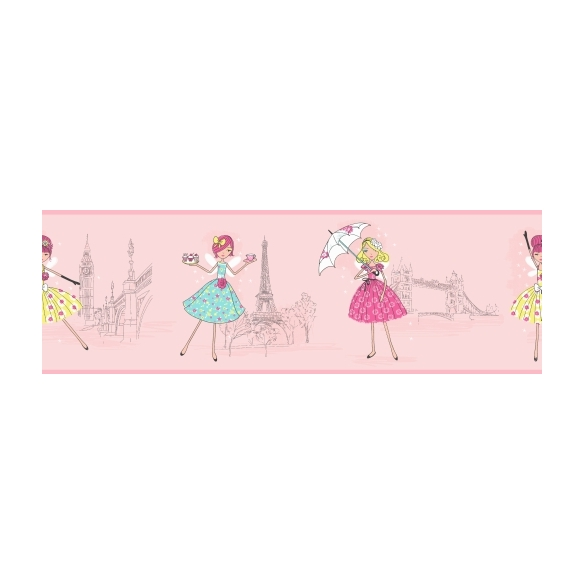 Hoopla Vintage Fairies Border Pink