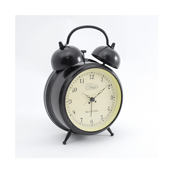 Table clock Aaltje, antique, metal, glass 15.1x20.5x6.8cm