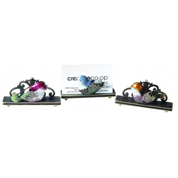 emailitud metallist linnumotiiviga visiitkaardihoidja, 3 stiilis,9.5cmL x 5cmH