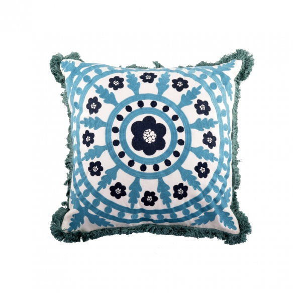 "16""Square Polyester Mandala Embroidered Pillow"