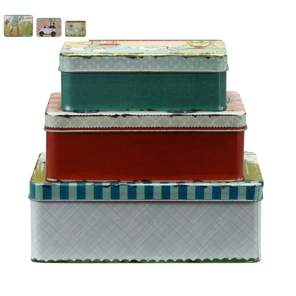 "8-1/4"" & 7"" & 6""L Tin Boxes w/ Sayings, Set of 3 ©"