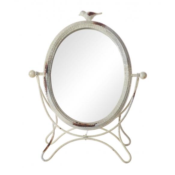 "15-1/2""H Metal Vanity Mirror w/ Bird, Cream Crackle Finish"