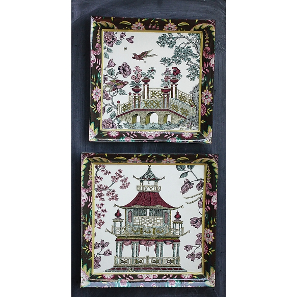 """11-1/2"""" & 10-1/4"""" Square Cathay Garden Decorative Trays, Set of 2 ©"""