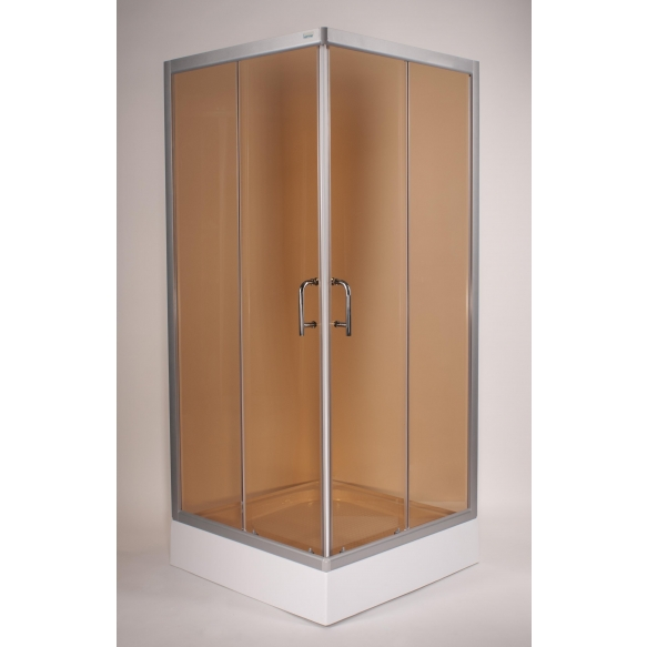 shower cabin ,square,aluminium frame,bronze glass @ Deko