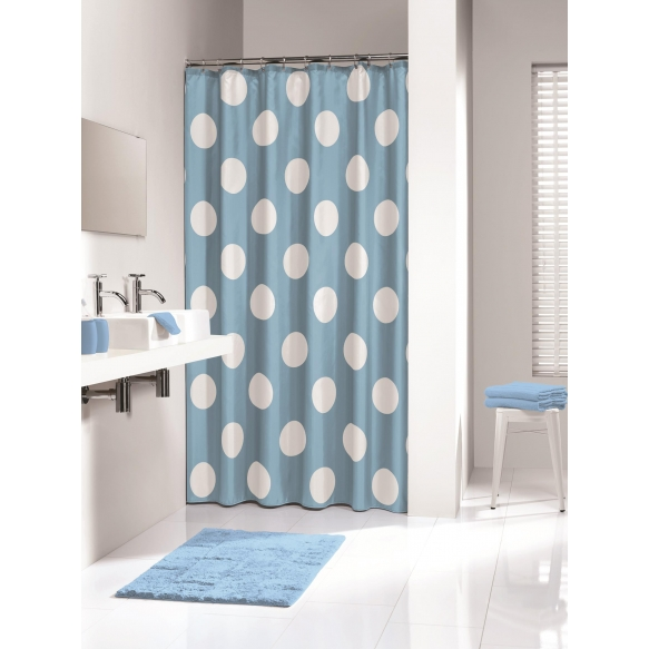 POLKA shower curtain textile, blue, 180x200cm
