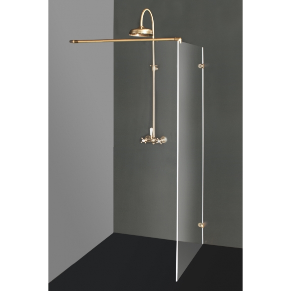 Shower screen DORA with bronzed fittings , clear glass