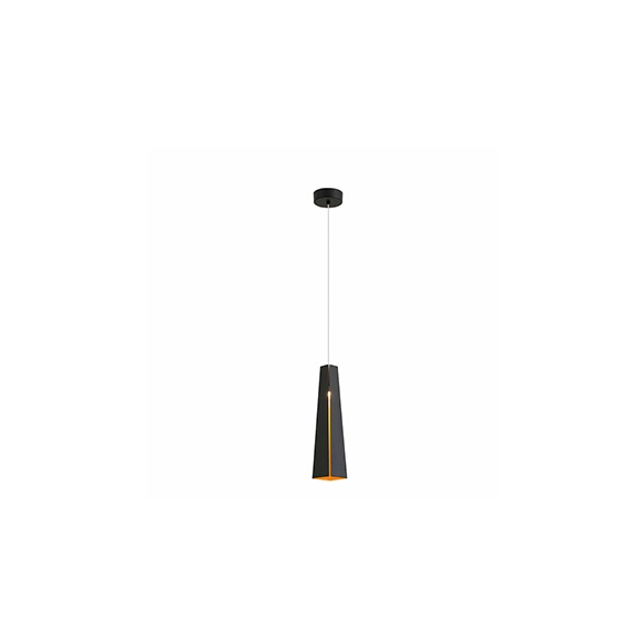 PLUMA LED black+gold pendant lamp,SMD LED 6W 3000K 450Lm,aluminium