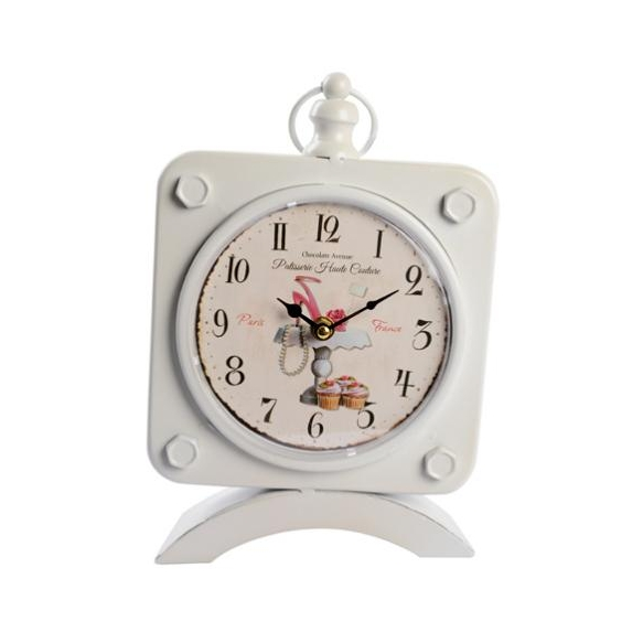 Table clock Effie, white, 19x31x7cm