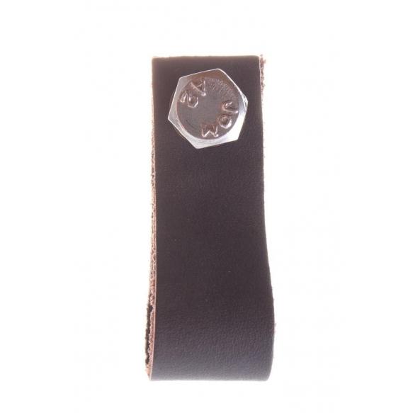 dark brown leather knob, 6 cm