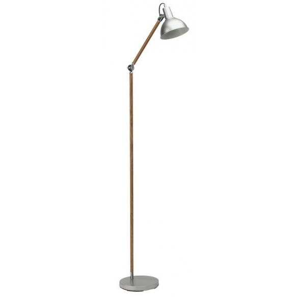 floor lamp wood+silver, metal 1XE27 40W