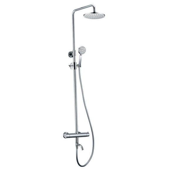 KIMURA shower/bathtub column with thermostatic mixer, chrome, metal handles, adjustable height