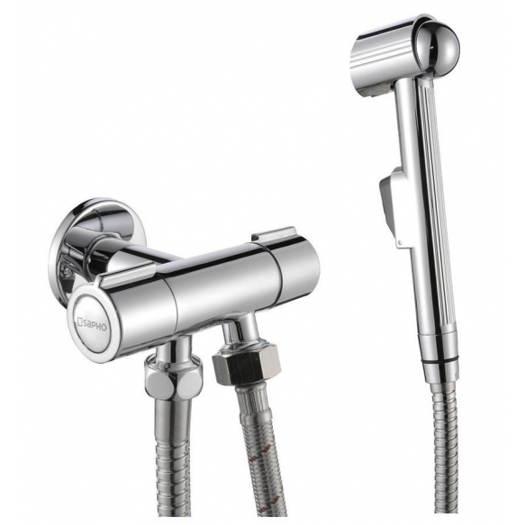 Bidet sprayer with double valve, chrome