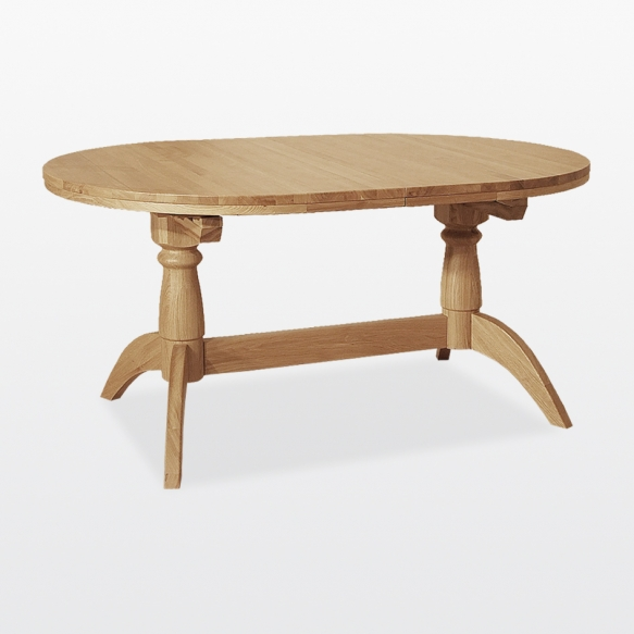 Double pedestal extending table 2 leaves inside