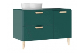 Patara Basin Cabinet with drawers 100 cm, green + basin LP140 or LP040