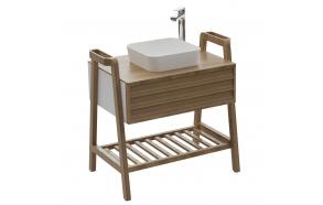 Truva Basin Cabinet 80 cm, + basin UL040 white