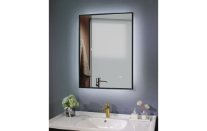 LED mirror Cherry diam 60x80 cm, mat black, rotatable