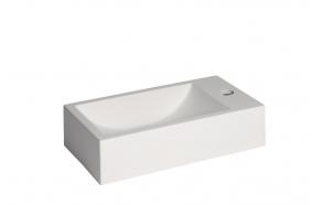 Cast stone sink Austin right, 408x227x100 mm, mat white