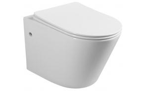 PAKO Wall Hung Toilet, Rimless, incl. Toilet Seat, 36x53 cm, white
