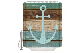 textile shower curtain Anchor 183x200 cm, white curtain rings included