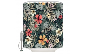 textile shower curtain Flower Garden 183x200 cm, white curtain rings included
