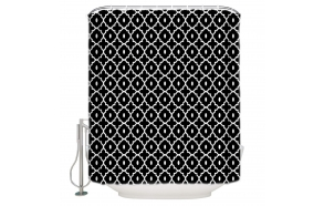 textile shower curtain Spades 183x200 cm, white curtain rings included