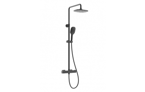 Thermostatic rain shower set Rombo, mat black