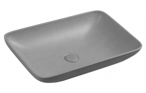 INFRANE concrete washbasin including waste, 57x37 cm, brindled grey
