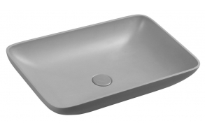 INFRANE concrete washbasin including waste, 57x37 cm, grey