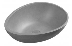 PUNC concrete washbasin including waste, 53x39 cm, gray brindle