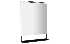 ERUPTA Mirror with MDF shelf and LED lighting 80x95x12cm, matt black