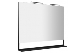ERUPTA Mirror with MDF shelf and LED lighting 120x95x12cm, matt black