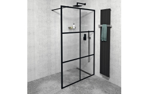 CURE BLACK Shower Enclosure 1400 mm, black matt