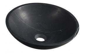 BLOK Stone Washbowl dia 40cm, polished mat black marble