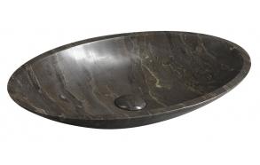 valamu Blok ovaalne 60x35 cm, poleeritud tume marmor