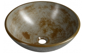 FORMIGO concrete washbasin, diameter 41 cm, brindled grey