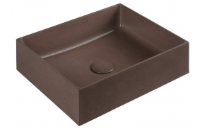 FORMIGO concrete washbasin, 47,5x13x36,5 cm, gray, with plug