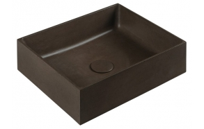 FORMIGO concrete washbasin, 47,5x13x36,5 cm, brown, with plug