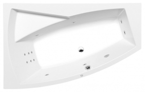 EVIA L HYDRO hydromassage Bath tub, 160x100x47cm, white
