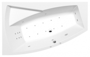 EVIA L HYDRO-AIR hydromassage Bath tub, 170x100x47cm, white