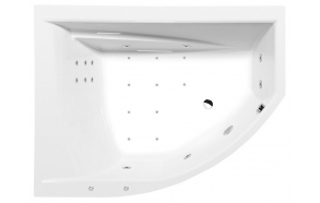 TANDEM  L HYDRO-AIR hydromassage Bath tub, 170x130x50 cm, white