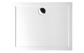 KARIA Cultured Marble Shower Tray 90x70x4 cm left, white  + feet AWG05 + panel 44812L + siphon S-1711C